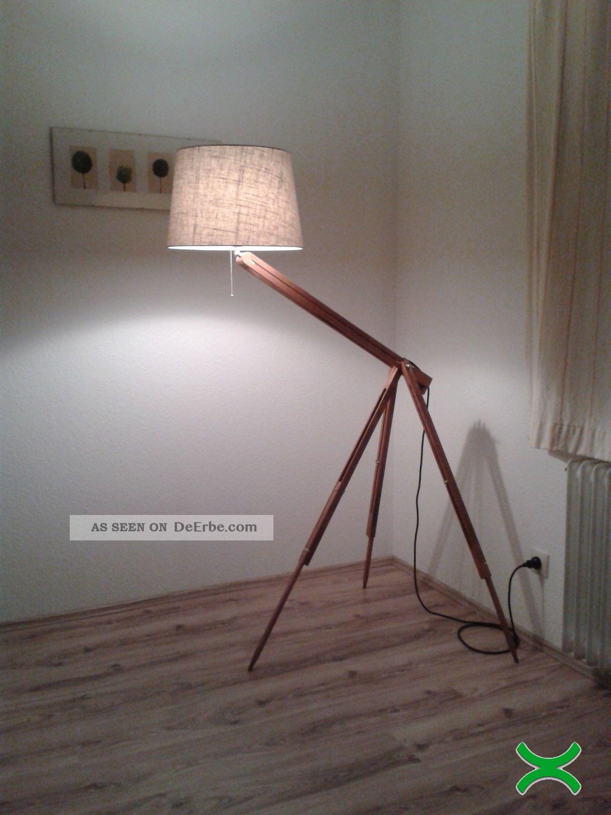 Lampe Stehlampe Bauhaus Tripod Lamp Kugel Architekt Shabby Chic Holz