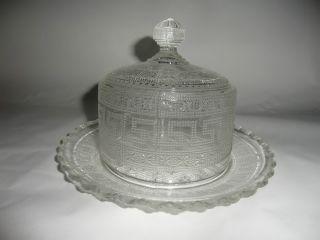 Käseglocke Mit Spruch Pressglas Um 1900 Bild