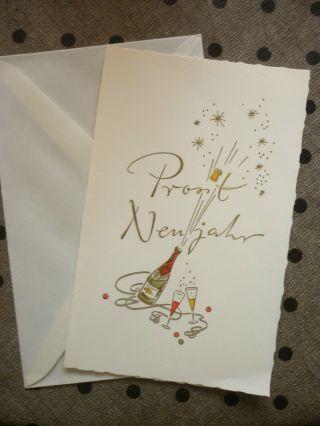 Neujahrskarte Mit Umschlag Ca.  50er/60er Jahre Sektflasche Bild
