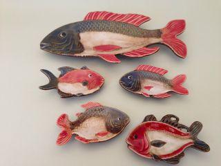 5 Fische Aus Keramik | Selten | Design | Stil | Sushi Bild