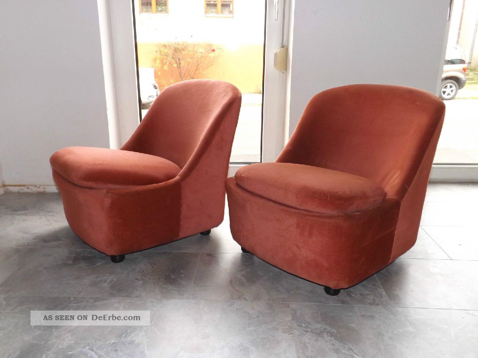 2 x schalensessel clubsessel cocktailsessel 70er vintage altrosa. Black Bedroom Furniture Sets. Home Design Ideas