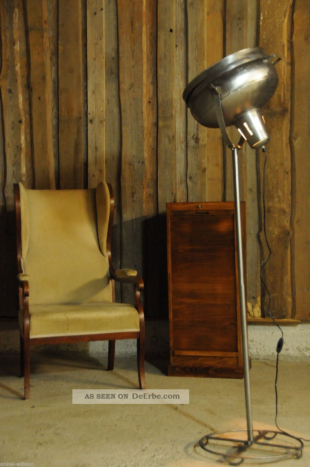 vintage scheinwerfer stehlampe retro industriedesign. Black Bedroom Furniture Sets. Home Design Ideas