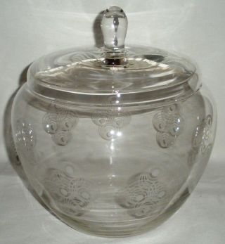 70 Er Jahre Bowle Glasgefäß Mit Deckel Kreise Kristall Glas Große Bonboniere Bild