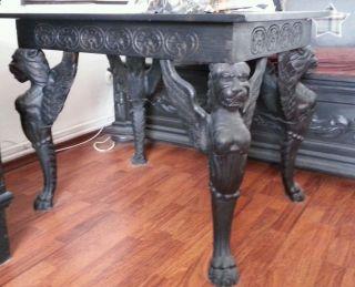 Alter Antiker Tisch Löwenfüsse Geschnitzt Gründerzeit Löwen Antik Bild