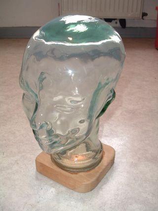 Glaskopf Kopfhörer Hutablage Perückenkopf Dekokopf Glas Kopf 70er 30cm Bild