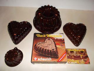 4 Stück Scheurich Backkeramik Backform Backen Kuchen Pudding Keramik 70er Bild