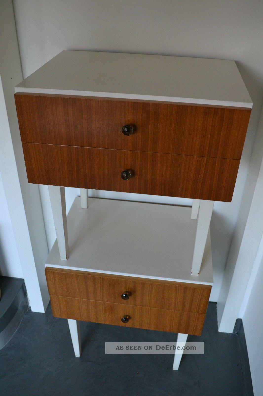 2 nachttisch tisch schubladenschrank beistelltisch 60er 70er jahre teak teakholz. Black Bedroom Furniture Sets. Home Design Ideas