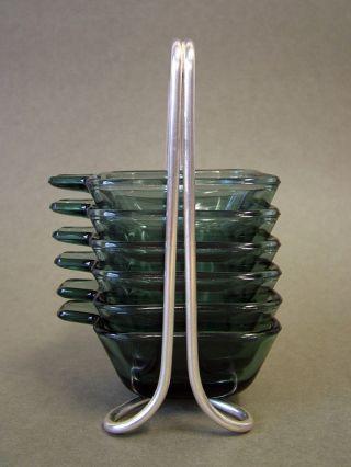 Wmf Wilhelm Wagenfeld 6 Satzascher,  Ständer Bauhaus Turmalin Glas Bild