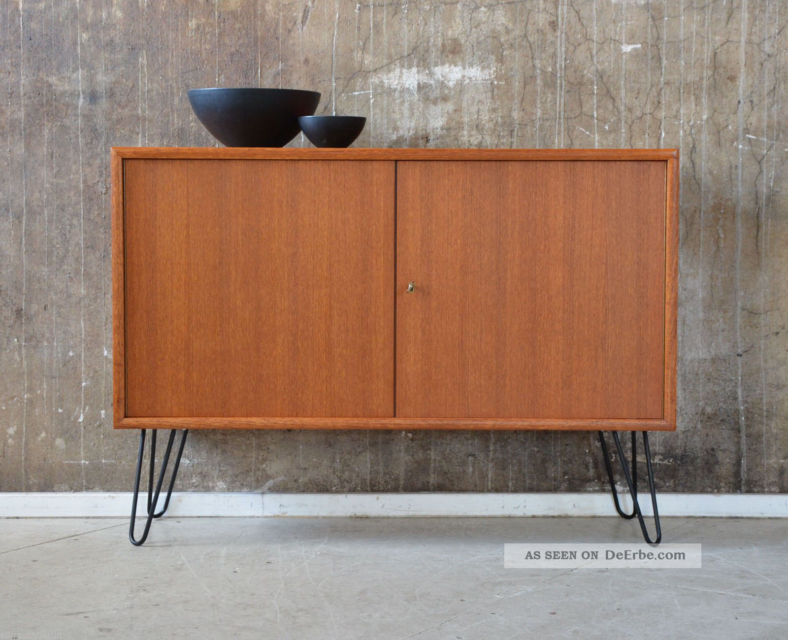 60er Wk Teak Kommode Midcentury 60s Vintage Cabinet Sideboard Tv