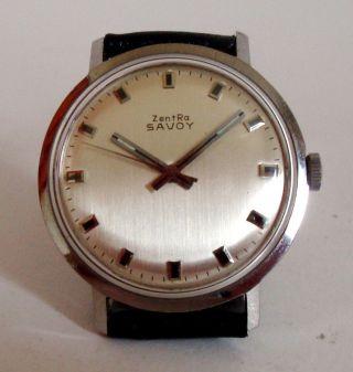 Zentra Savoy Edelstahl Handaufzug Unisex Vintage Watch Space Age 60er Top & Rare Bild