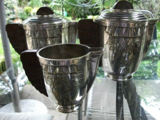 Seltenes Versilbertes Art Deco Tee/kaffee Service 3 Teilig Bild
