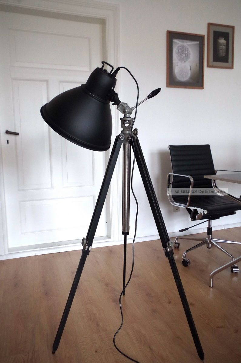 studio tripod fabrik strahler steh lampe holz stativ dreibein bauhaus loft retro. Black Bedroom Furniture Sets. Home Design Ideas