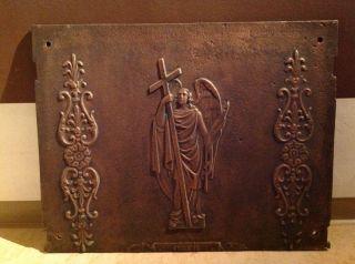 Antik Gusseisen - Engel - Wandplatte - Ofenplatte Bronziert? 60x46,  5xca.  X1cm - über 20kg Bild
