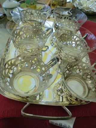 Silber,  Versilbert,  Teeservice,  Tablett,  6 Tassen,  Glas,  Jugendstil Bild