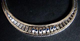 Collier Halskette Mit 7 Saphir Exklusiv Silber 60/70er Top Bild