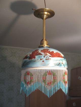 Extremschöne Jugendstil Deckenlampe Mit Glasperlenbehang Um 1910 Bild