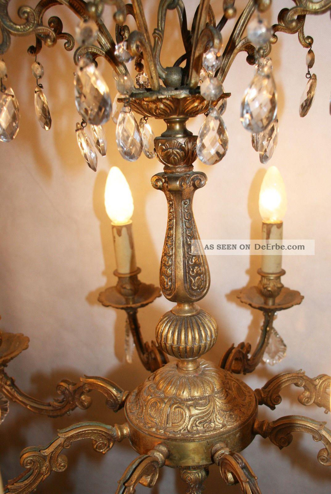 frankreich pr chtiger kristall kronleuchter 6 8 kg messing l ster lampe antik. Black Bedroom Furniture Sets. Home Design Ideas