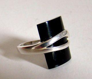 Ring Modernist Finnland Exklusiv & Massiv 925 Sterling Silber Onyx 60/70er Rare Bild