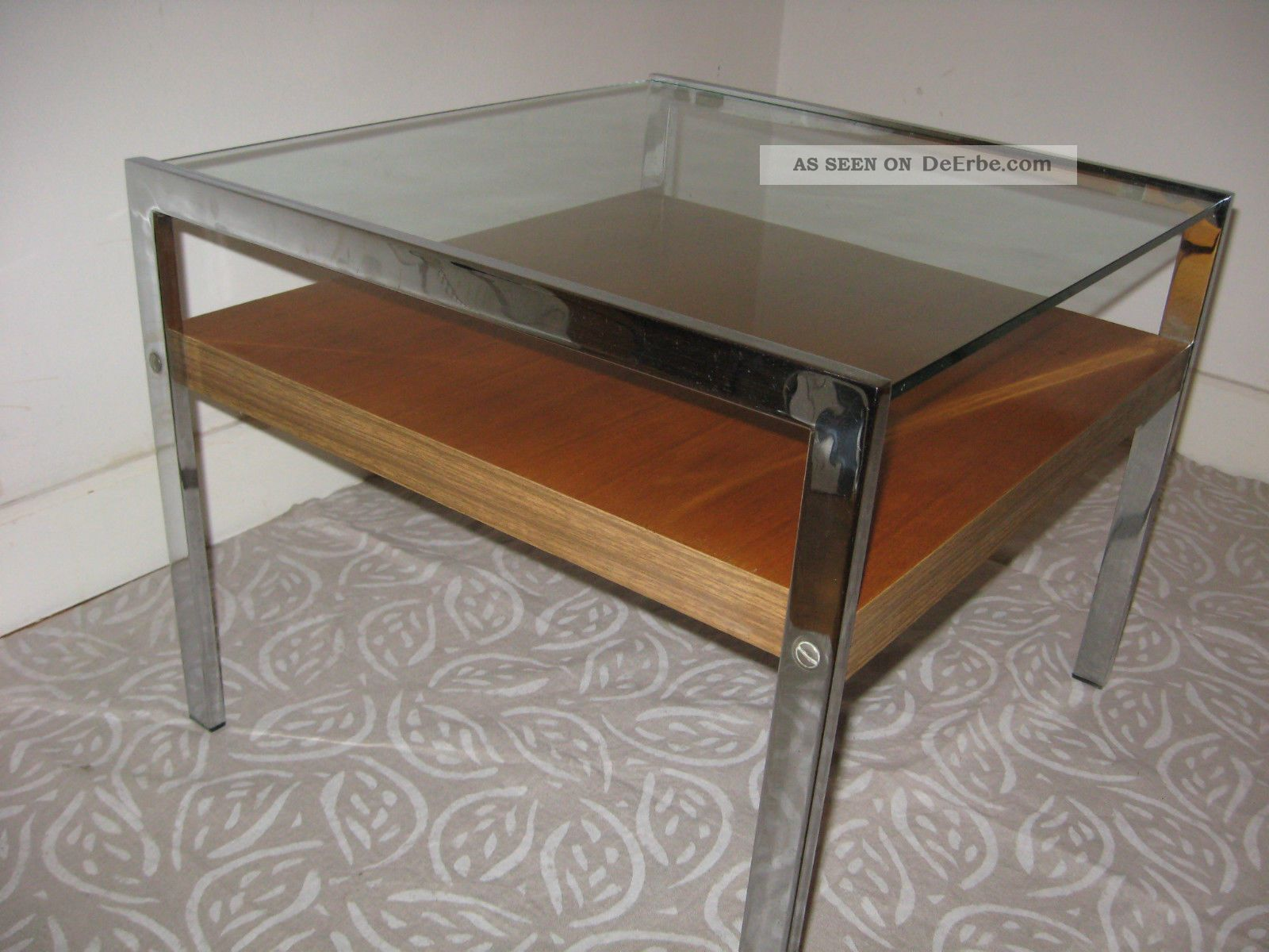 Couchtisch coffee table teak chrom glas mid century 60er for Couchtisch 70er