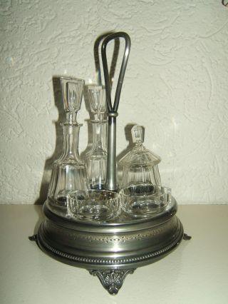 Jugendstil Glas Menage Metall Ständer 5 Teilig Um 1900 Bild