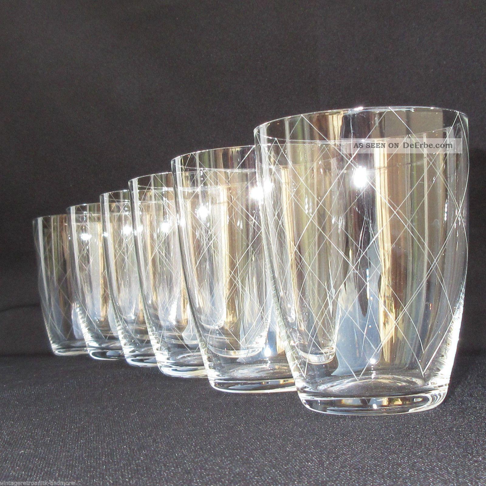 6 x klassisch modern 50er wasserglas saftgl ser feiner streifen rautenschliff. Black Bedroom Furniture Sets. Home Design Ideas