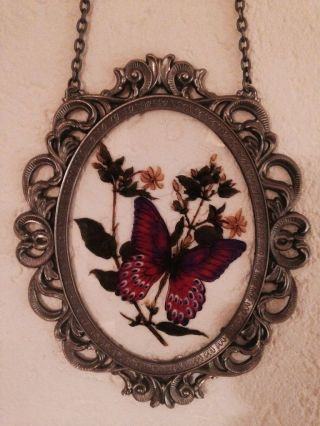 Edle Hinterglasmalerei Glasbild - Zinnrahmen Mit Schmetterlingsmotiv U.  Kette Bild