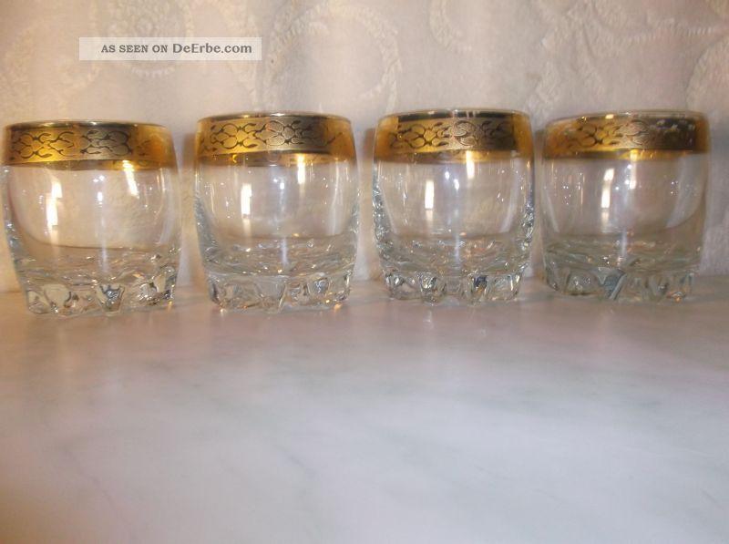 alte schwere kristall whiskeygl ser mit goldrand 4 gl ser pro glas 300 g. Black Bedroom Furniture Sets. Home Design Ideas