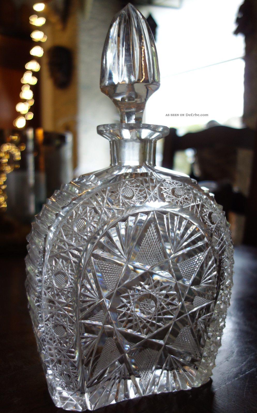 alte edle bleikristall karaffe whisky schnaps lik r 2kg schwer ca100 jahre. Black Bedroom Furniture Sets. Home Design Ideas