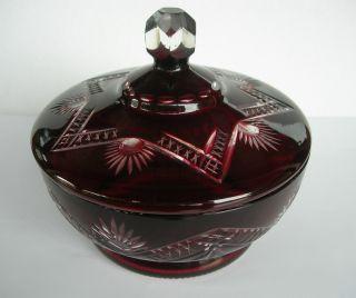 Glasdose Dose Glas Überfangglas Farblos / Rubinrot Schliffdekor Kristall Böhmen? Bild