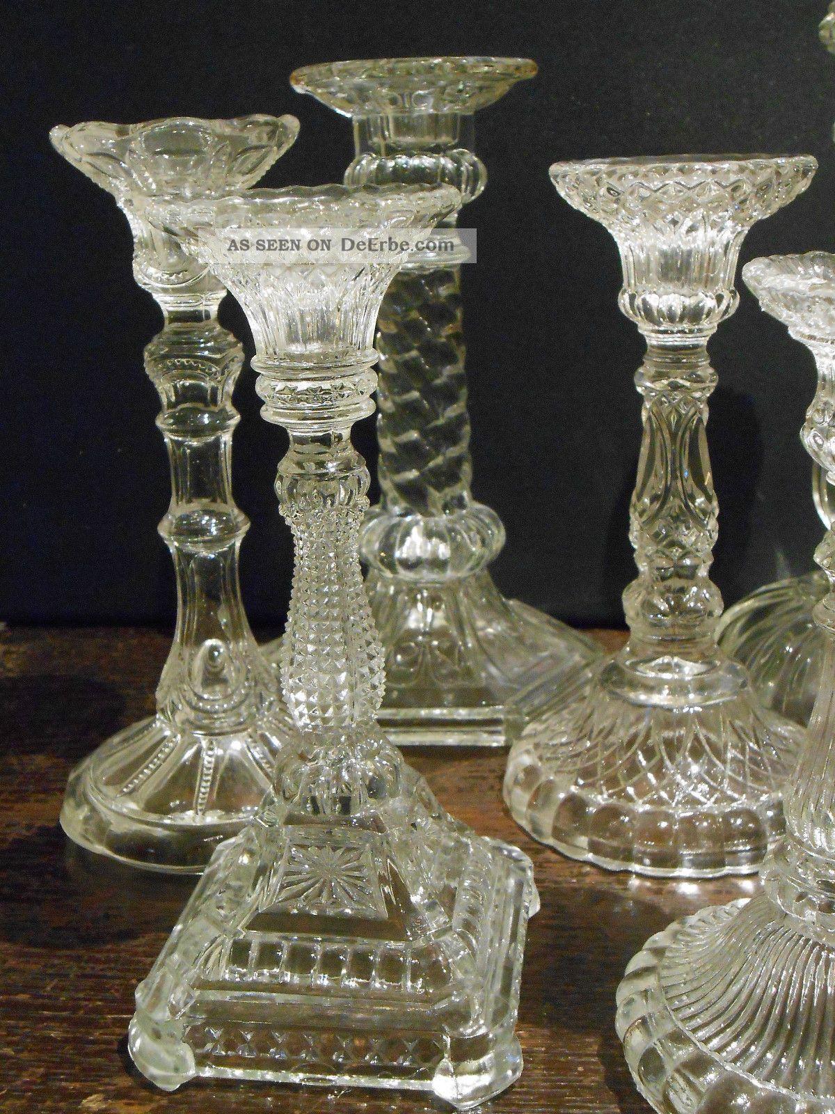 7 Tlg Konvolut Alte Kerzenleuchter Kerzenst 228 Nder Glas