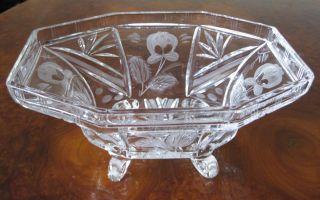 Alte Glasschale Kristallglas Antik Schüssel Obstschale Gebäck Schale Verzierung Bild