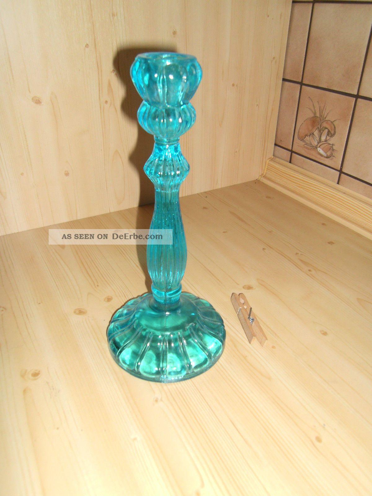1 Antiker Kerzenständer,  Kerzenhalter,  Kerzenleuchter Pressglas Türkis Top Zust. Kristall Bild