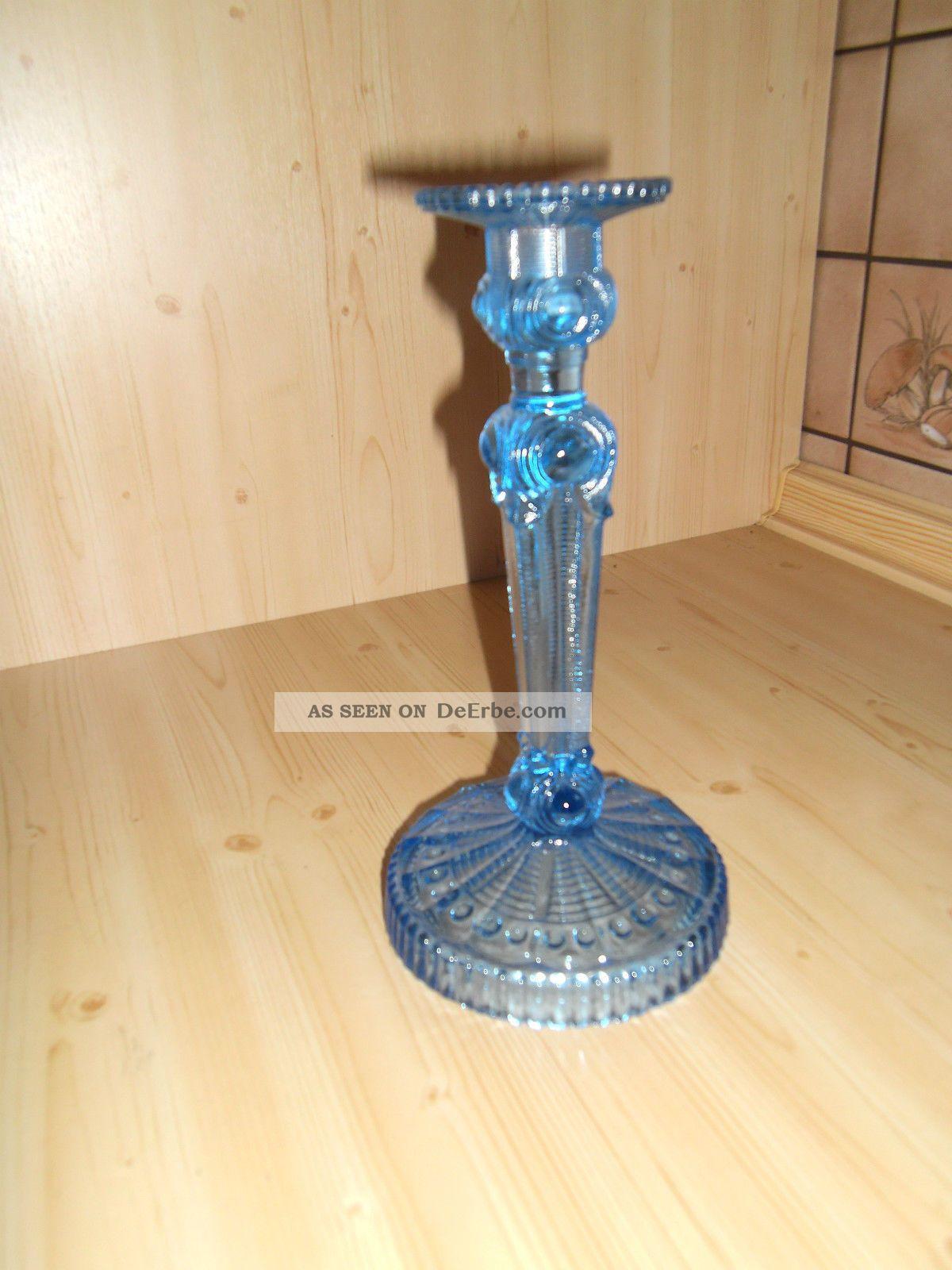 1 Antiker Kerzenständer,  Kerzenhalter,  Kerzenleuchter Pressglas Blau Top Zust. Kristall Bild