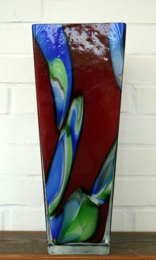Schwere Bodenvase - Murano - Bunt - 40 Cm Hoch - Überfangglas Bild