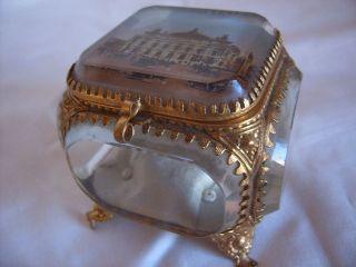Sehr Edle Kostbare Seltene Antike Kristall Schmuck - Schatulle Mit Stadtansicht Bild