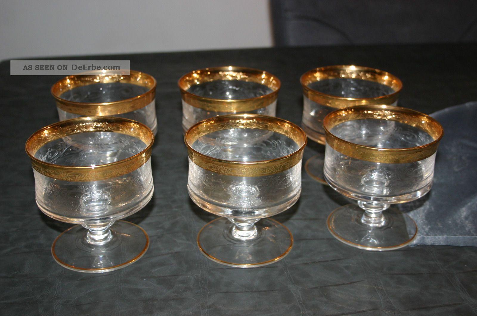 6 st ck champagnerschalen sektschalen gl ser murano medici mit goldrand. Black Bedroom Furniture Sets. Home Design Ideas