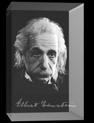 Vip - Laser 3d Glaskristall Quader 3d Autogram Albert Einstein Bild