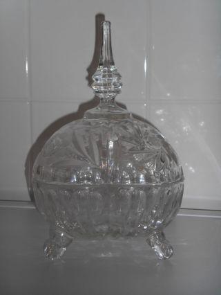 Deckeldose Kristallglas Schüssel Dose Glas Geschliffen Design Stil Vitrine Bild