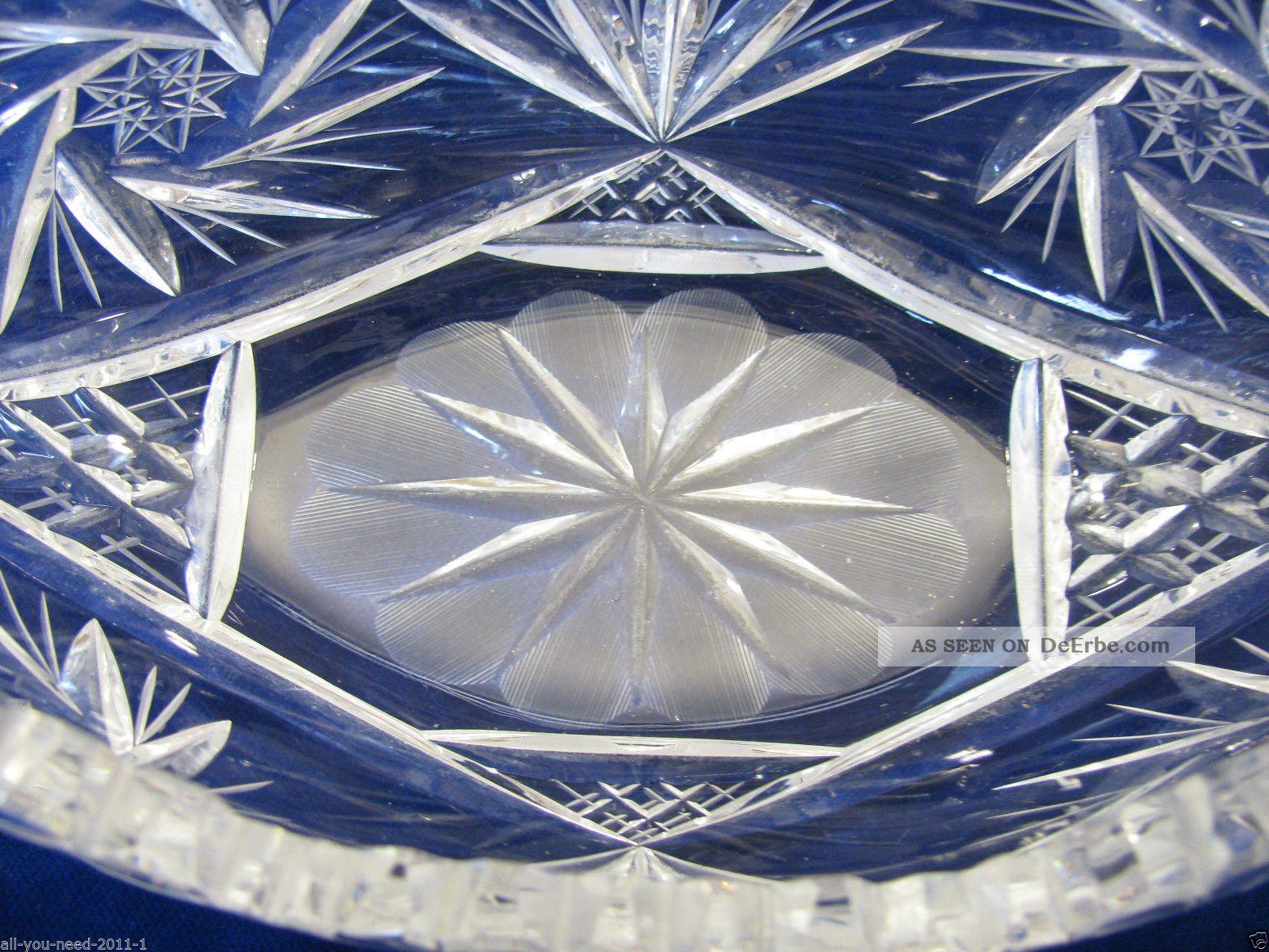 sch ne ovale bleikristall schale mit muster. Black Bedroom Furniture Sets. Home Design Ideas