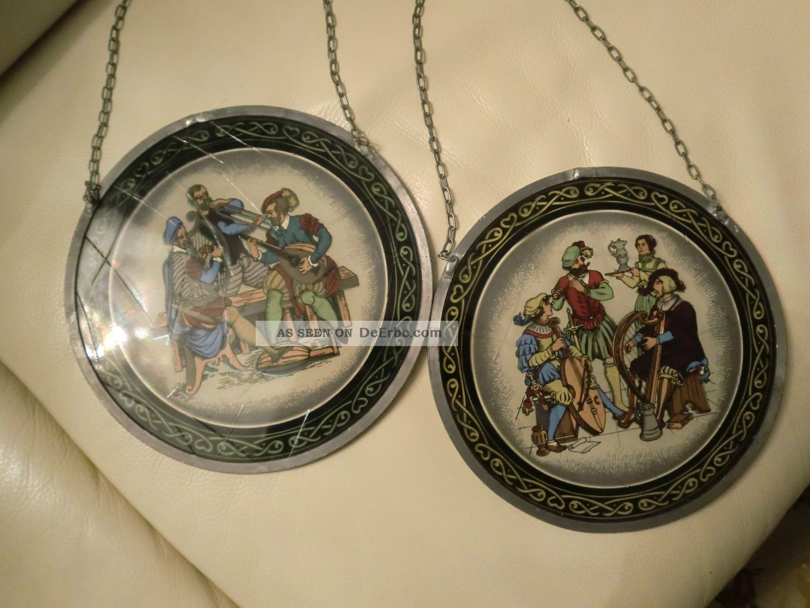 2 Fensterbilder,  Glasmalerei,  Hinterglasmalerei,  Bleiverglasung,  Glasbild,  Minnesang Glas & Kristall Bild