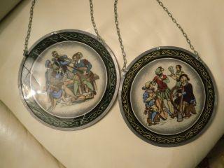 2 Fensterbilder,  Glasmalerei,  Hinterglasmalerei,  Bleiverglasung,  Glasbild,  Minnesang Bild