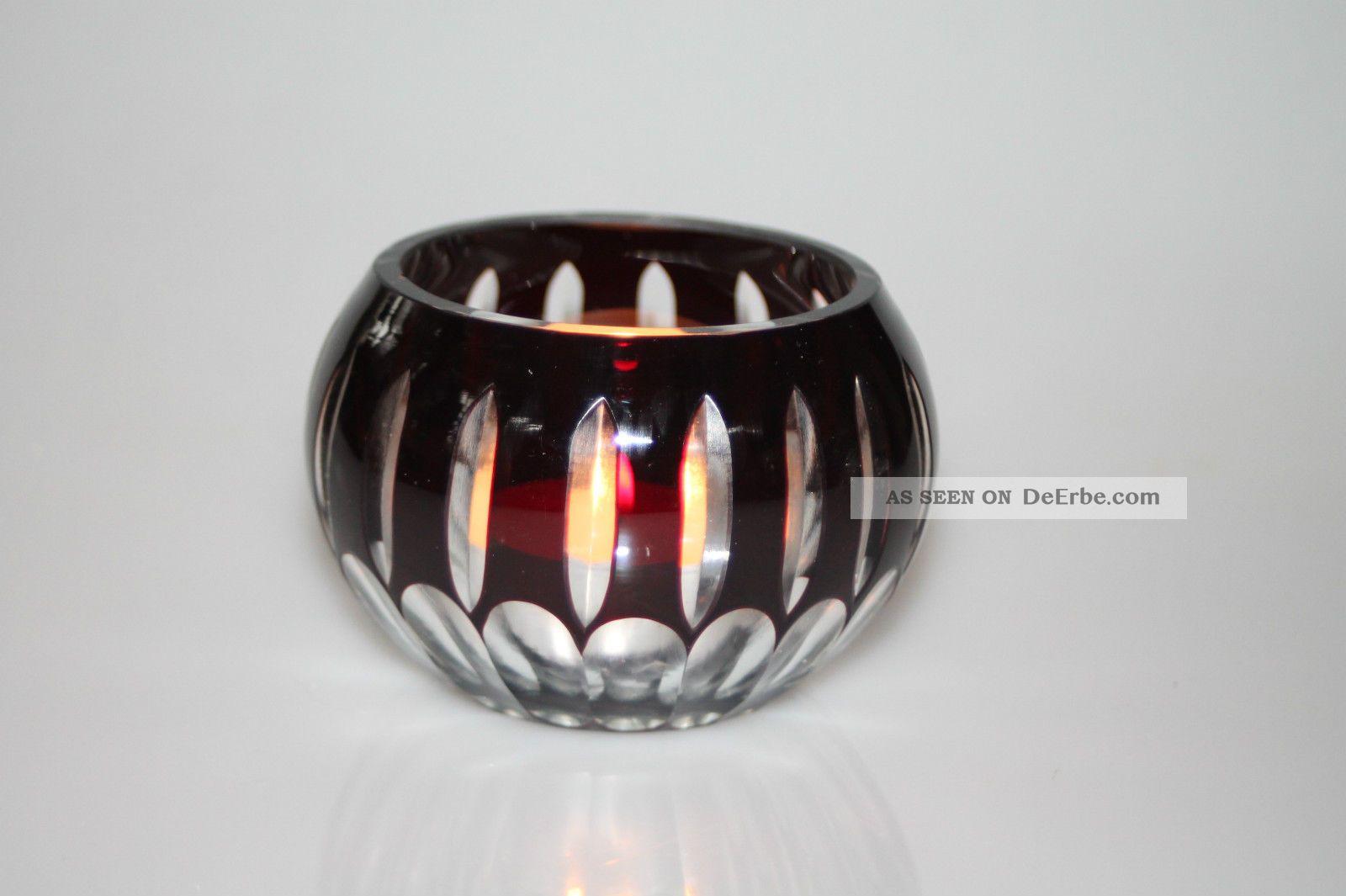 Traumhaft Schöner Teelicht - Halter Kristall Geschliffen Dunkelrot - Kristallglas Kristall Bild