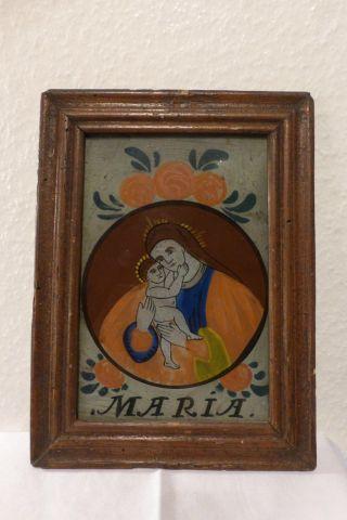 Antik Hinterglasbild Maria Mit Kind Votivbild Biedermeier Barock Bild