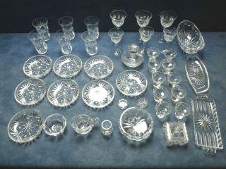 Konvolut 40 Teile Kristallglas Alt Schwer 10 Kg Sternenmuster Ca.  1960 Bild