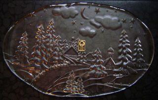 Walther Kristallglas Platte Oval,  Weihnachten Winter Landschaft,  43 Cm 1,  5 Kg Bild