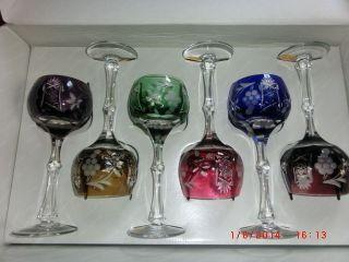Dresdner Römer Überfang Bleikristall Wein Glas Mit Karaffe Handgeschliffen 8tlg Bild