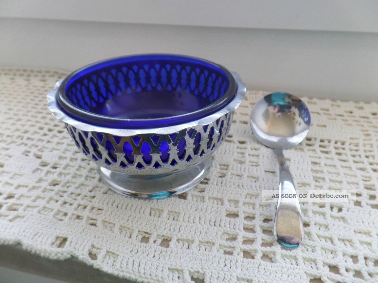 Kobalt Blaue Silber Verchromt Schale Servierschale Art