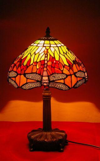 Tiffany Lampe Sehr Selten Rot - Töne Libelle,  Schwerer Messingfuß Bild