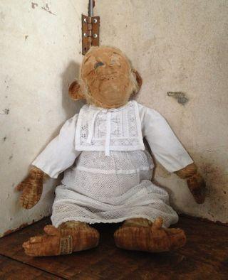 Antiker Affe Leinen Plüsch Stroh Weisses Kleid,  England,  Frankreich Shabby Deko Bild
