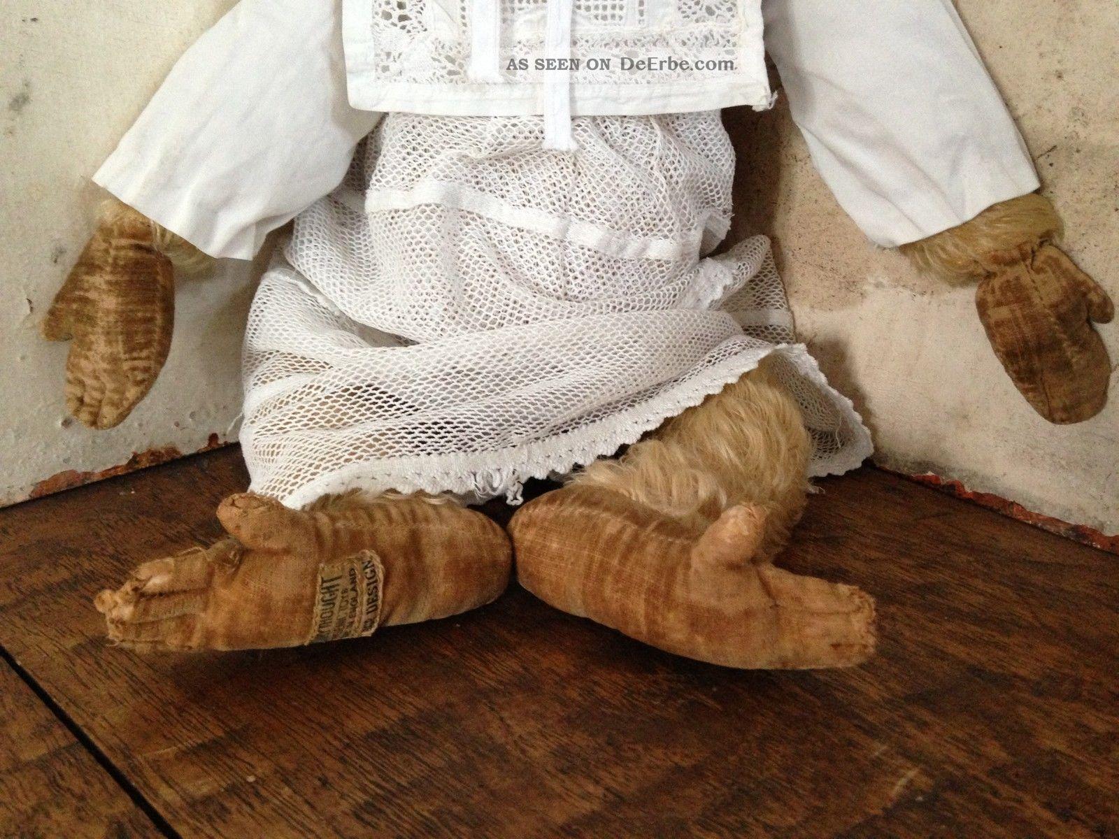 Antiker Affe Leinen Pl Sch Stroh Weisses Kleid England